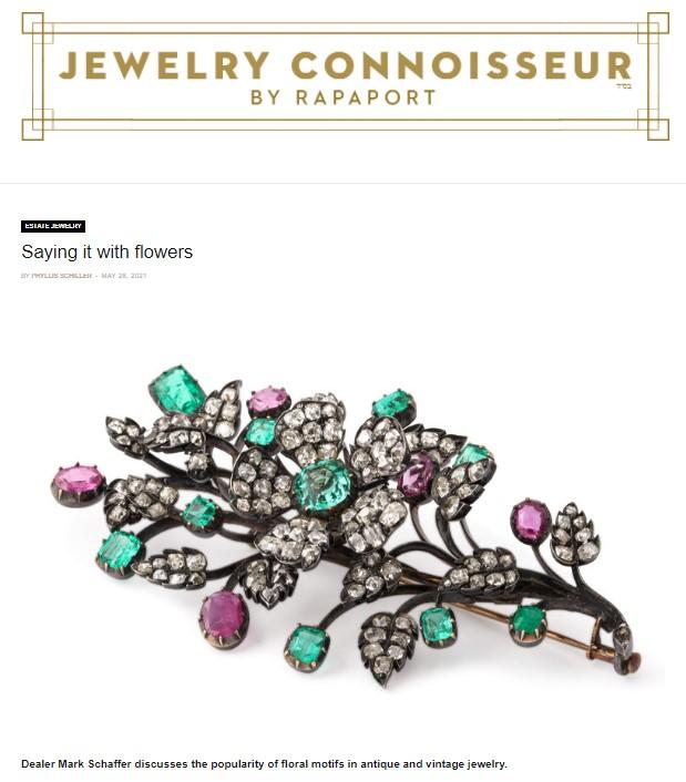 Screenshot of online Jewelry Connoisseur article interviewing Mark Schaffer