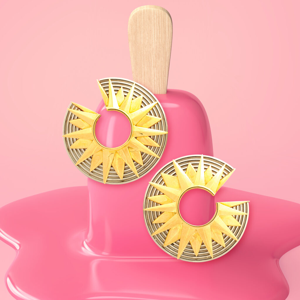 Cartier Two-Color Gold Earrings with a melting pink-colored popsicle