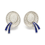 main view, Diamond and Sapphire Boater Hat Earrings by Drayson