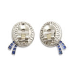 back view, Diamond and Sapphire Boater Hat Earrings by Drayson