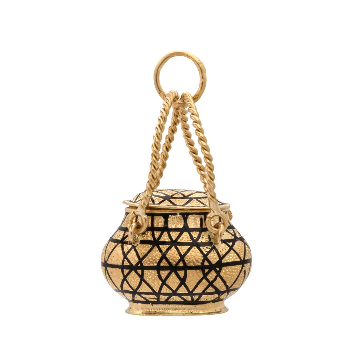 main view, Antique Gold Basket Charm Pendant