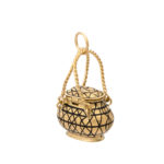 side and back view, Antique Gold Basket Charm Pendant