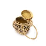open view, Antique Gold Basket Charm Pendant