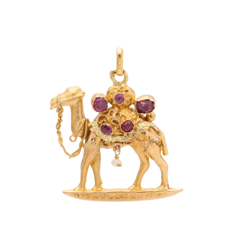 main view, Antique Camel Charm Pendant