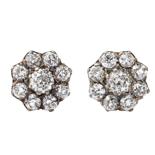 main view, Victorian Diamond Cluster Stud Earrings