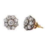 other view, Victorian Diamond Cluster Stud Earrings