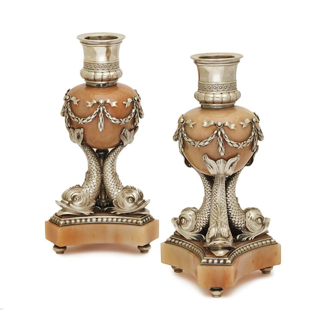 main view, Fabergé Aventurine and Silver Candlesticks