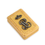 main view, Antique Chased Gold and Diamond Monogram Box