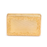 back view, Antique Chased Gold and Diamond Monogram Box