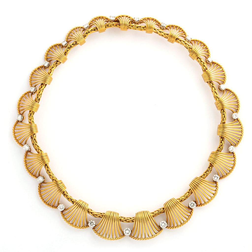 main view, 1950s Gold and Diamond Necklace by Cartier