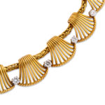 detail view, Vintage 1950s Cartier Gold and Diamond Necklace