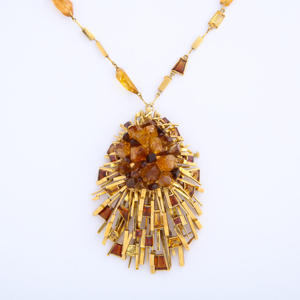 pendant detail, 1960s Citrine and Gold Necklace and Ring by David Thomas