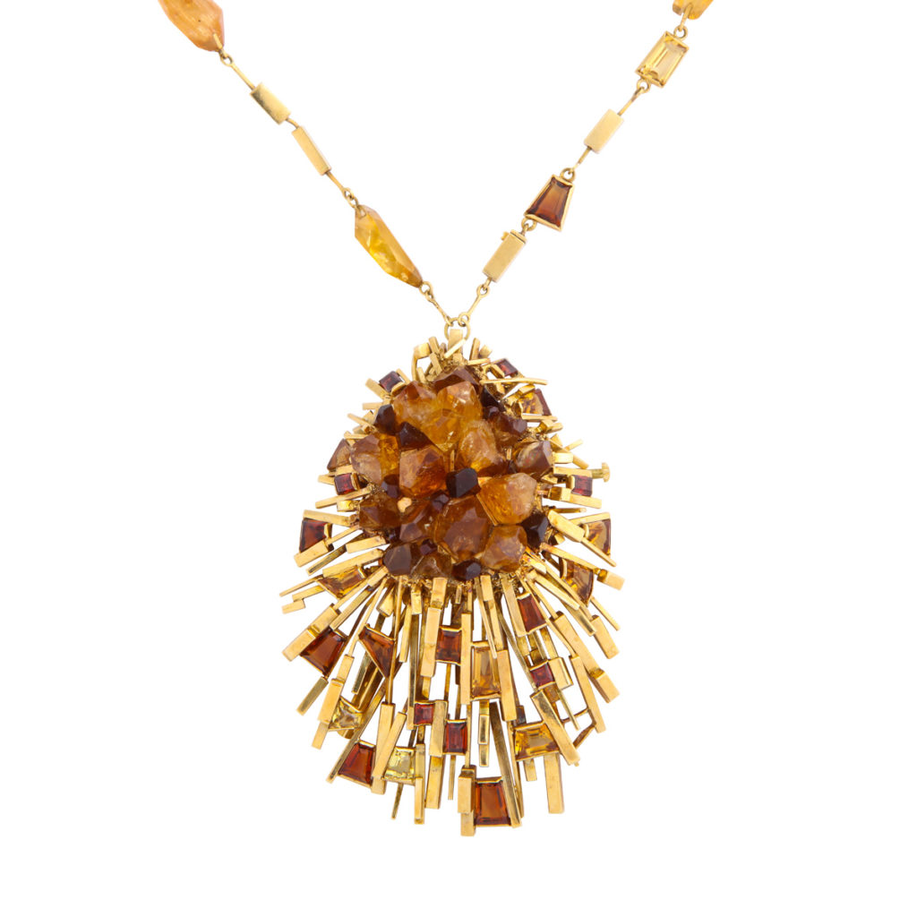 main view, 1960s Citrine and Gold Necklace and Ring by David Thomas