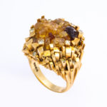 ring, 1960s Citrine and Gold Necklace and Ring by David Thomas