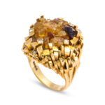 ring shot, 1960s Citrine and Gold Necklace and Ring by David Thomas