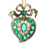 main view, emerald and diamond heart pendant