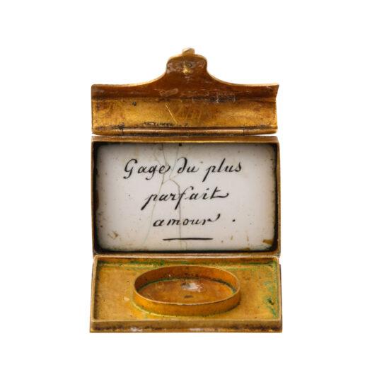 open view, antique gold miniature envelope charm pendant