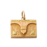main view, antique gold envelope charm pendant