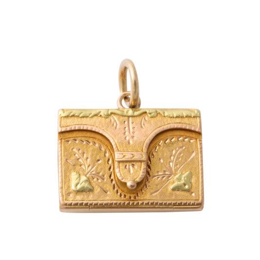 main view, antique gold envelope charm pendant