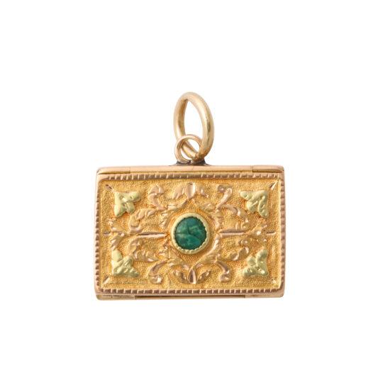 antique gold miniature back of envelope charm pendant