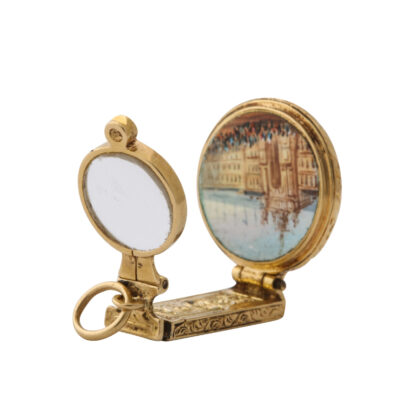 gold magnifier charm pendant with palace view, open