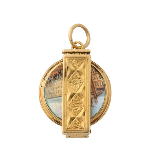 closed view, gold magnifier charm pendant with palace view