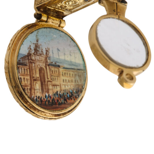 palace view upright, gold magnifier charm pendant with palace view