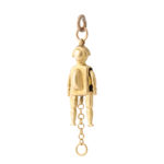 side view, Antique Gold Jester Charm Pendant