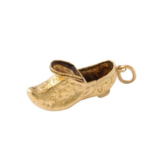 Antique gold miniature shoe charm pendant, the top open