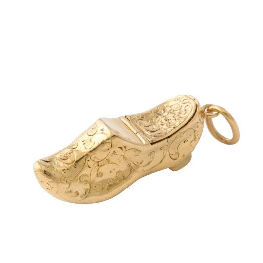main view, Antique gold miniature shoe charm pendant