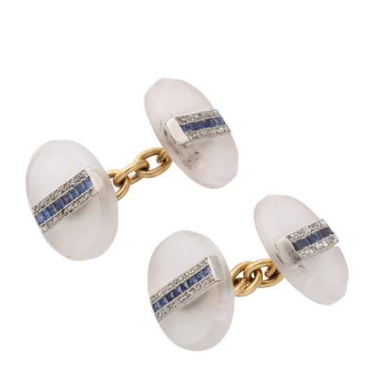 other view, oval frosted rock crystal, diamond, and sapphire cufflinks