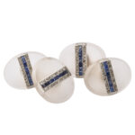 main view, oval frosted rock crystal, sapphire, and diamond cufflinks