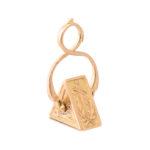 main view, Antique Gold Triangular Charm Locket Pendant