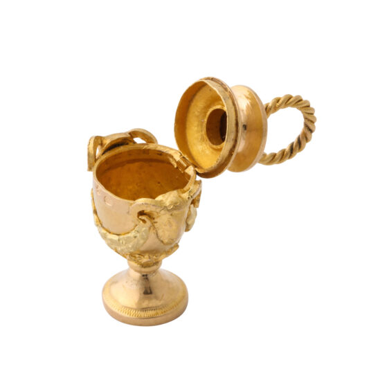 open view, Antique Gold Miniature Urn Charm