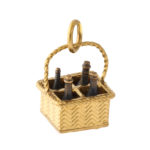 main view, antique gold wine bottle basket charm pendant