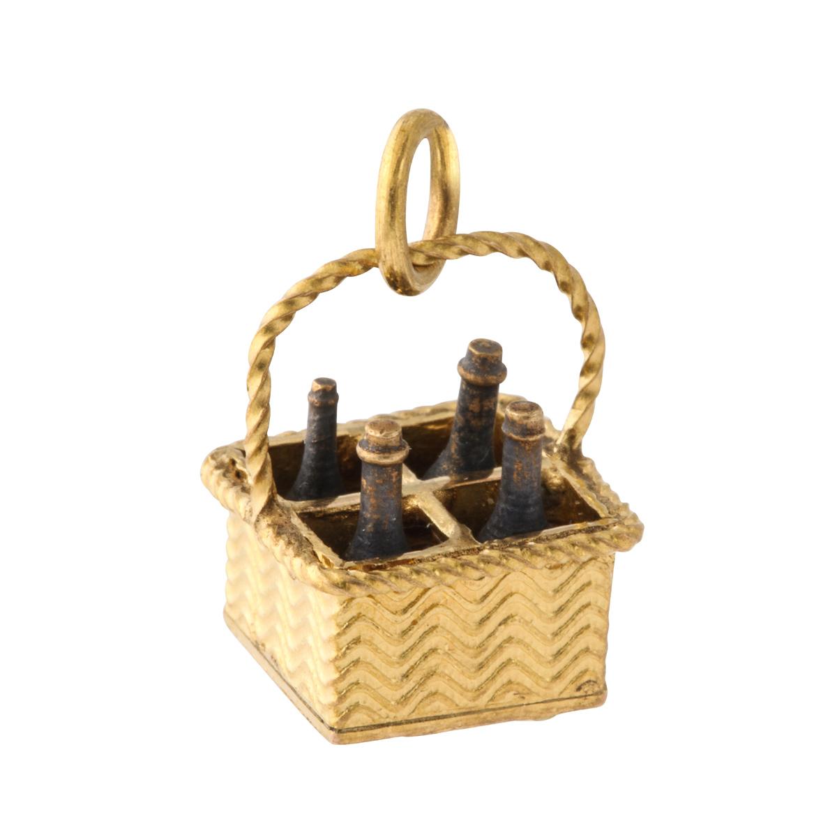 main view, antique gold wine bottle basket charm pendant
