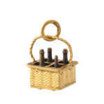 additional view, antique gold wine bottle basket charm pendant
