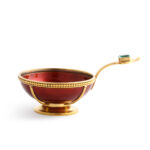 side view, Antique Russian Gold, Red Lacquer, and Emerald Charka