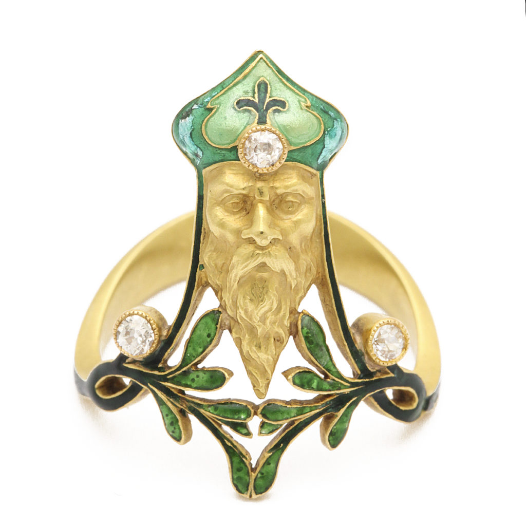 Main view, Art Nouveau Ring depicting Father Christmas by Lalique