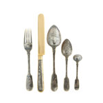 selection of cutlery from antique Russian niello dessert service
